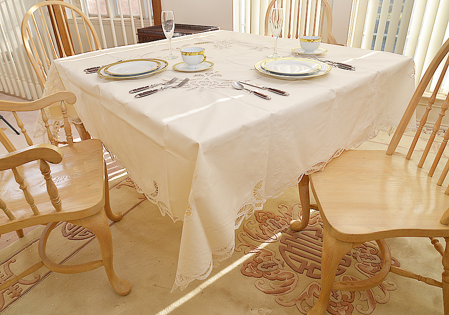 """70"""" Square Battenburg Tablecloth. Pearled Ivory colored"""