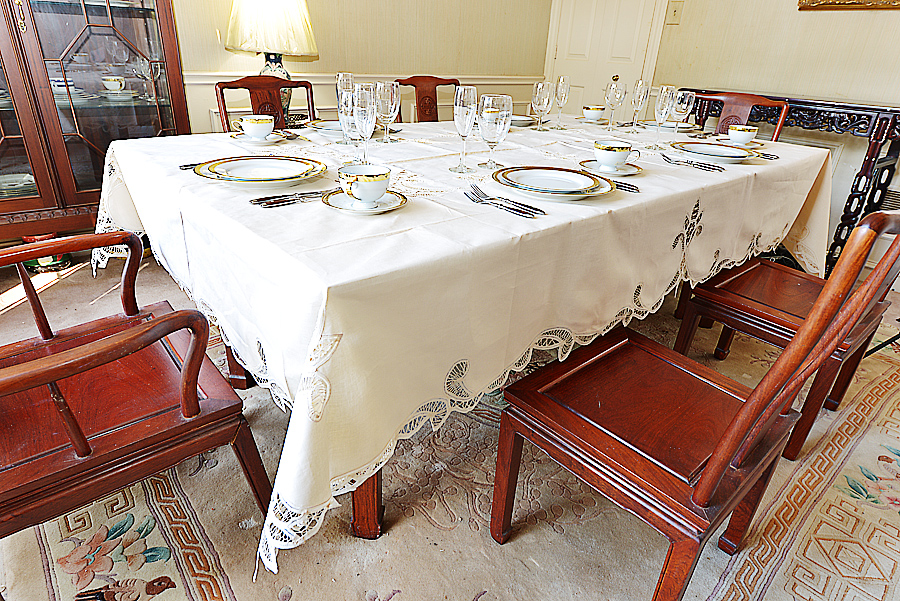 battenburg lace tablecloth, pearled Ivory colored
