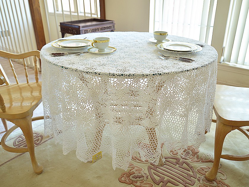 """Crochet Round Tablecloth. 66"""" Round Crochet Tablecloth"""