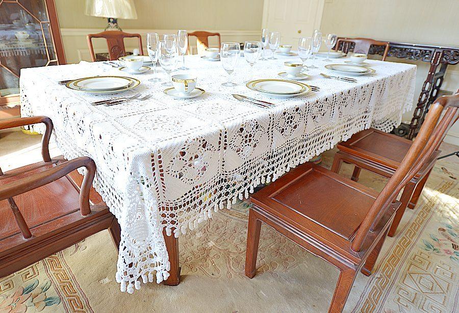 granny square white crochet tablecloth