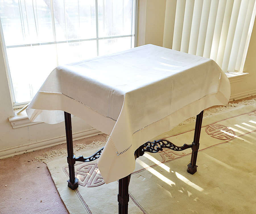 """36"""" square tablecloth. Pearled Ivory colored"""
