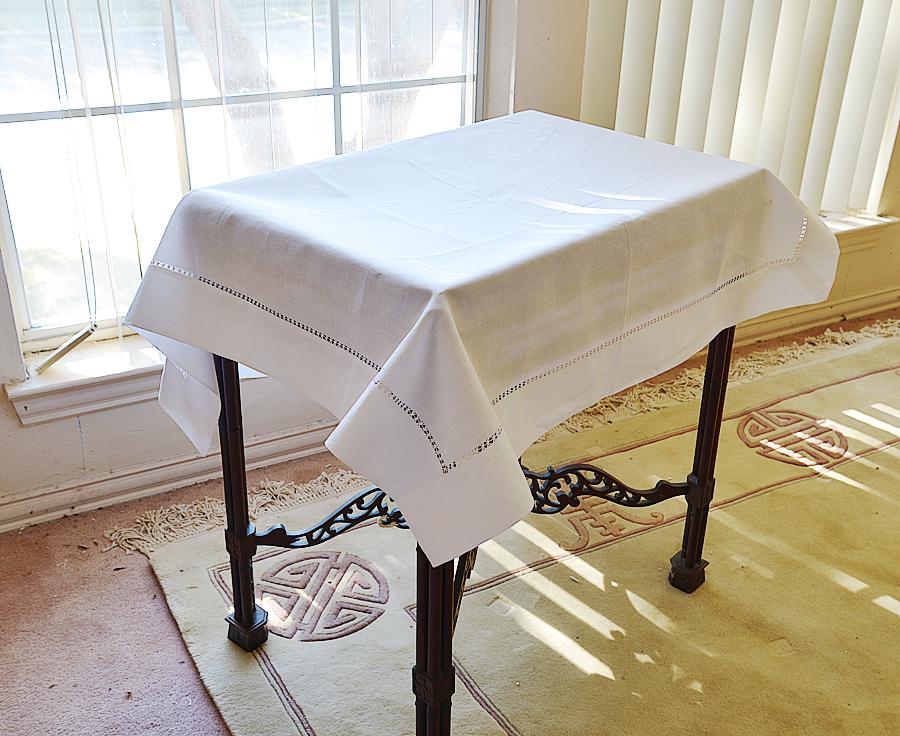 square tablecloth. hemstitch.