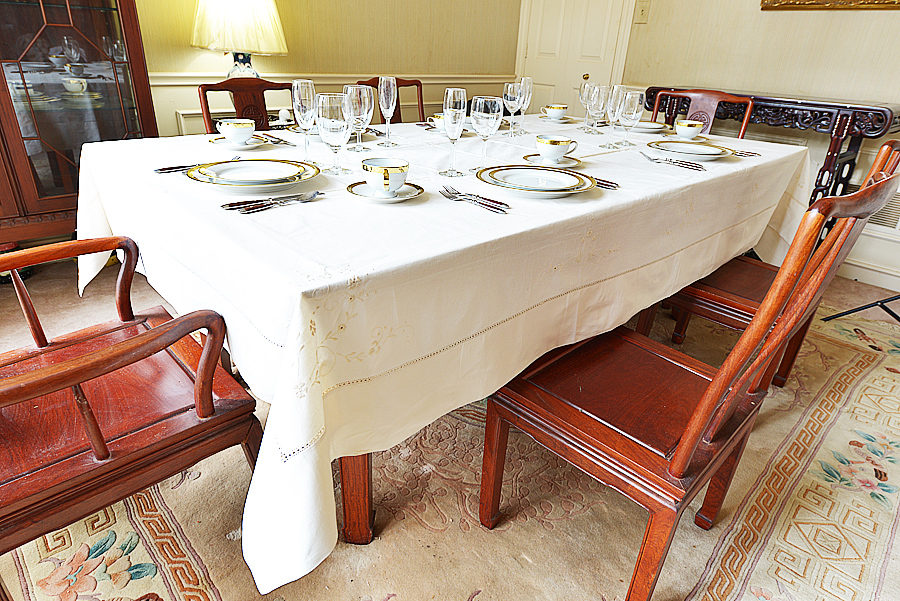 Pearled Ivory colored hemstitch tablecloth