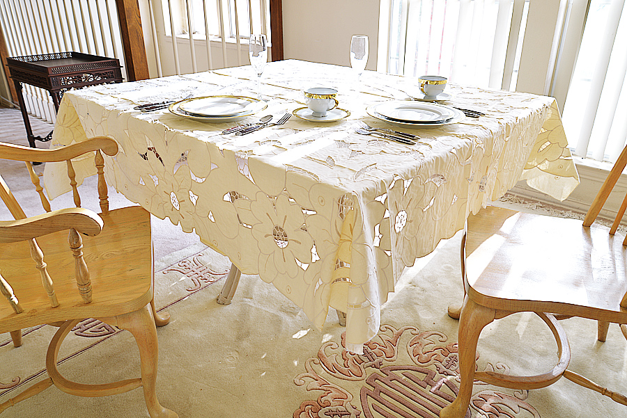 """All-Over Embroidered 70"""" square tablecloth. Pearled Ivory color"""