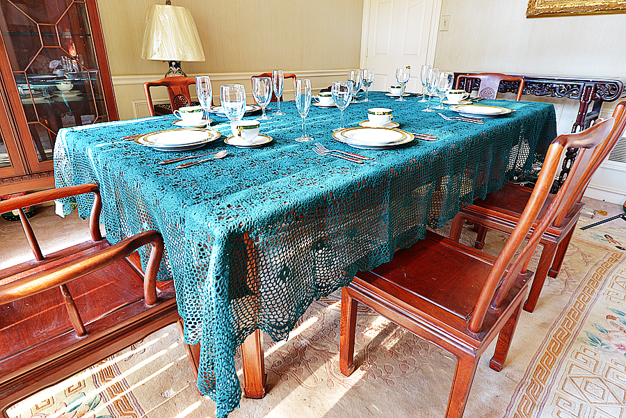 festive every green colored crochet tablecloth