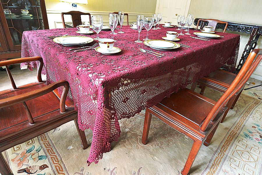 "Festive Crochet Merlot Colored Tablecloth. 72x108""."