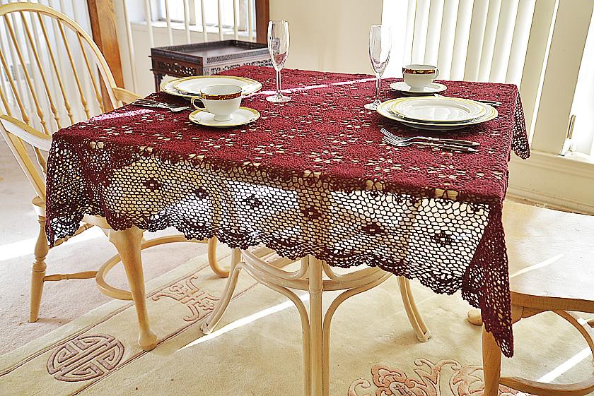 merlot crochet square tablecloth