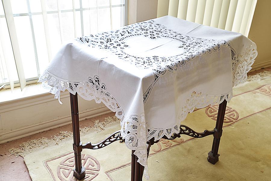 battenburg lace square tablecloth