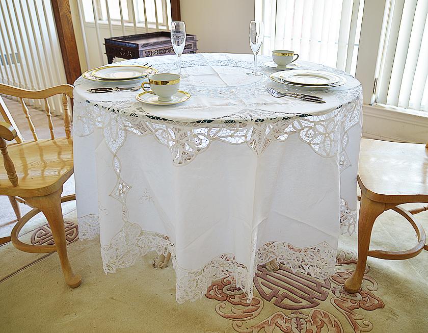 """90"""" round battenburg lace tablecloth"""