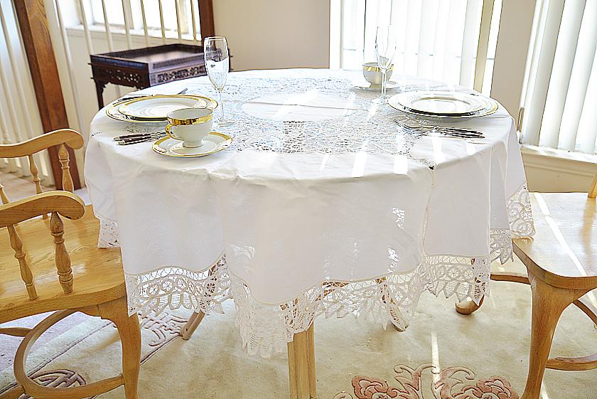 """68"""" Round Battenburg Lace Tablecloth"""