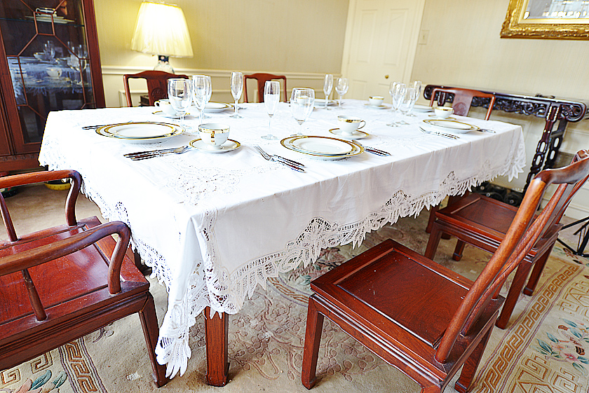 old fashioned battenburg lace tablecloth