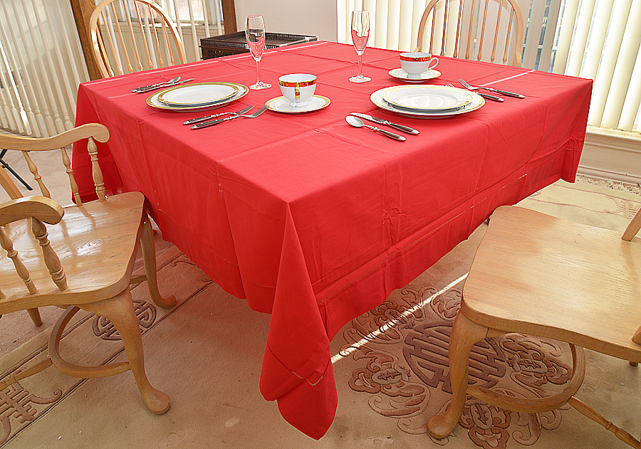 """90"""" Red Hemstitch Square Tablecloth"""