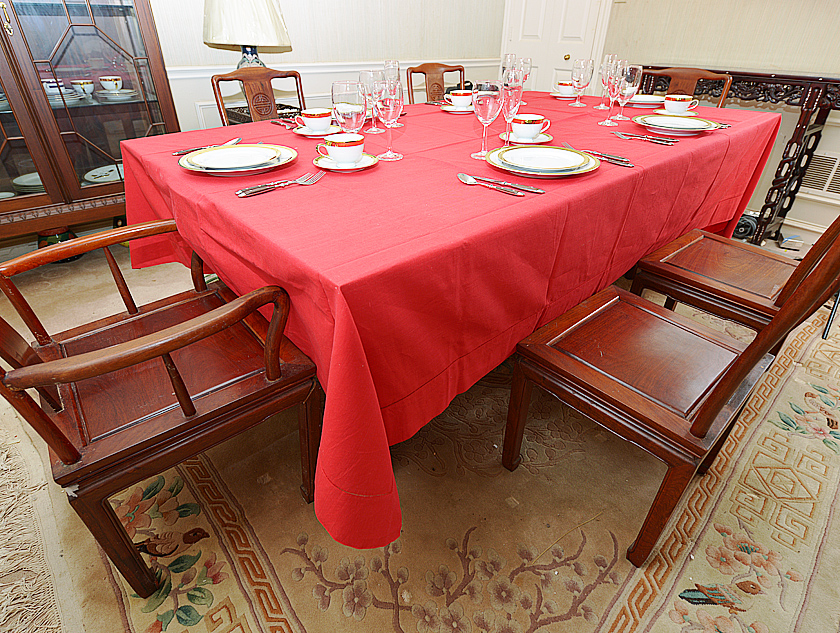 Red Hemstitch Rectangular Tablecloth.