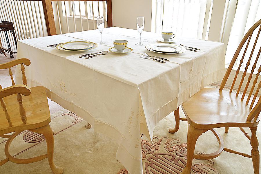 "70"" square tablecloth. Edinburgh Hemstitch. Pearled Ivory colored"