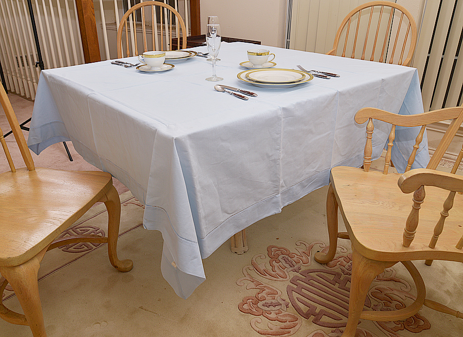 """70""""square tablecloth. baby blue colored"""