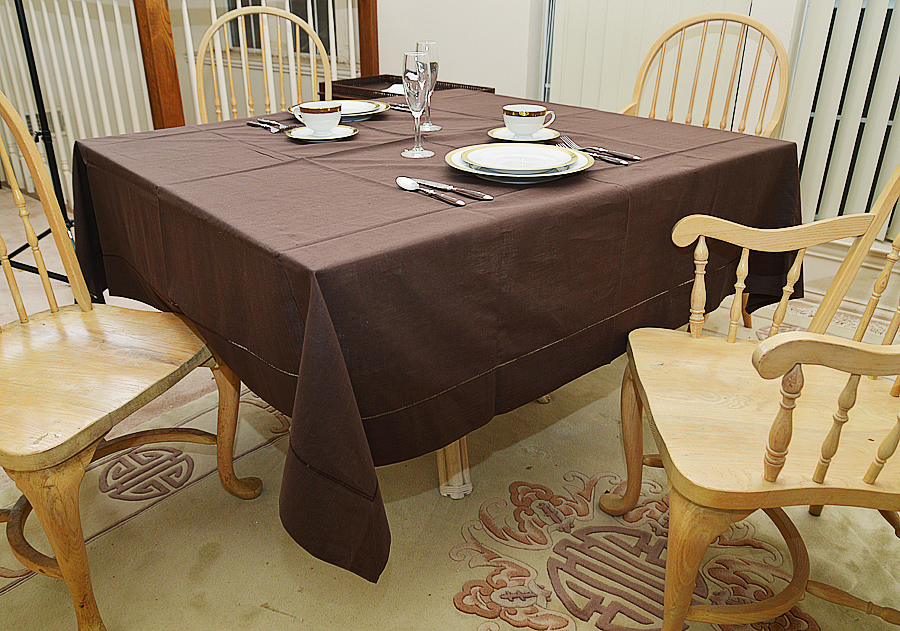 """72"""" Square tablecloth. chocolate colored"""