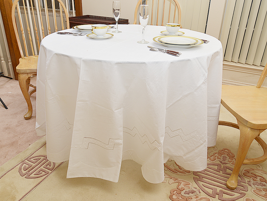 fancy Hemstitched Round Tablecloth