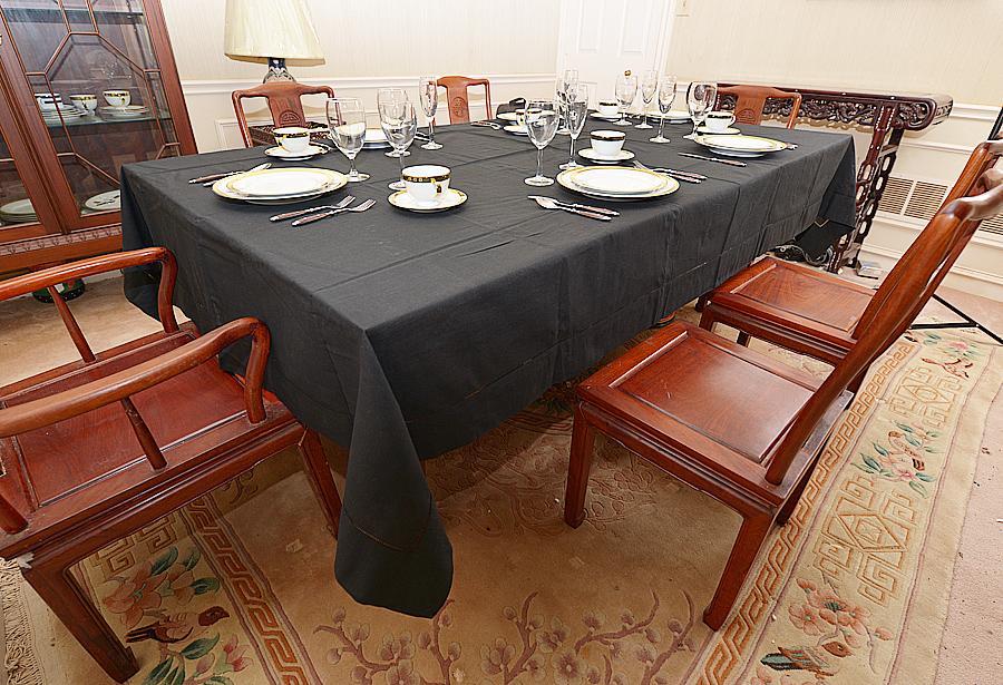 black hemstitch tablecloth
