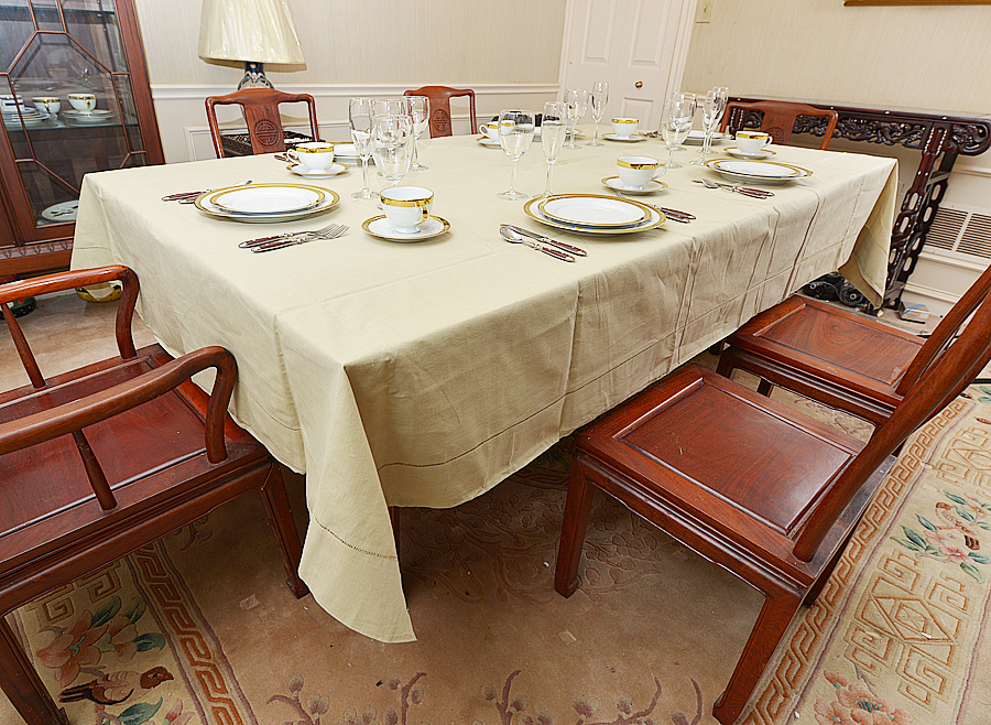 Taupe Hemstitch Tablecloth