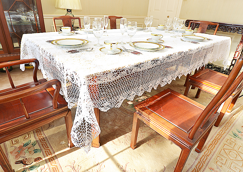 "White Crochet Tablecloth. 70x106""."