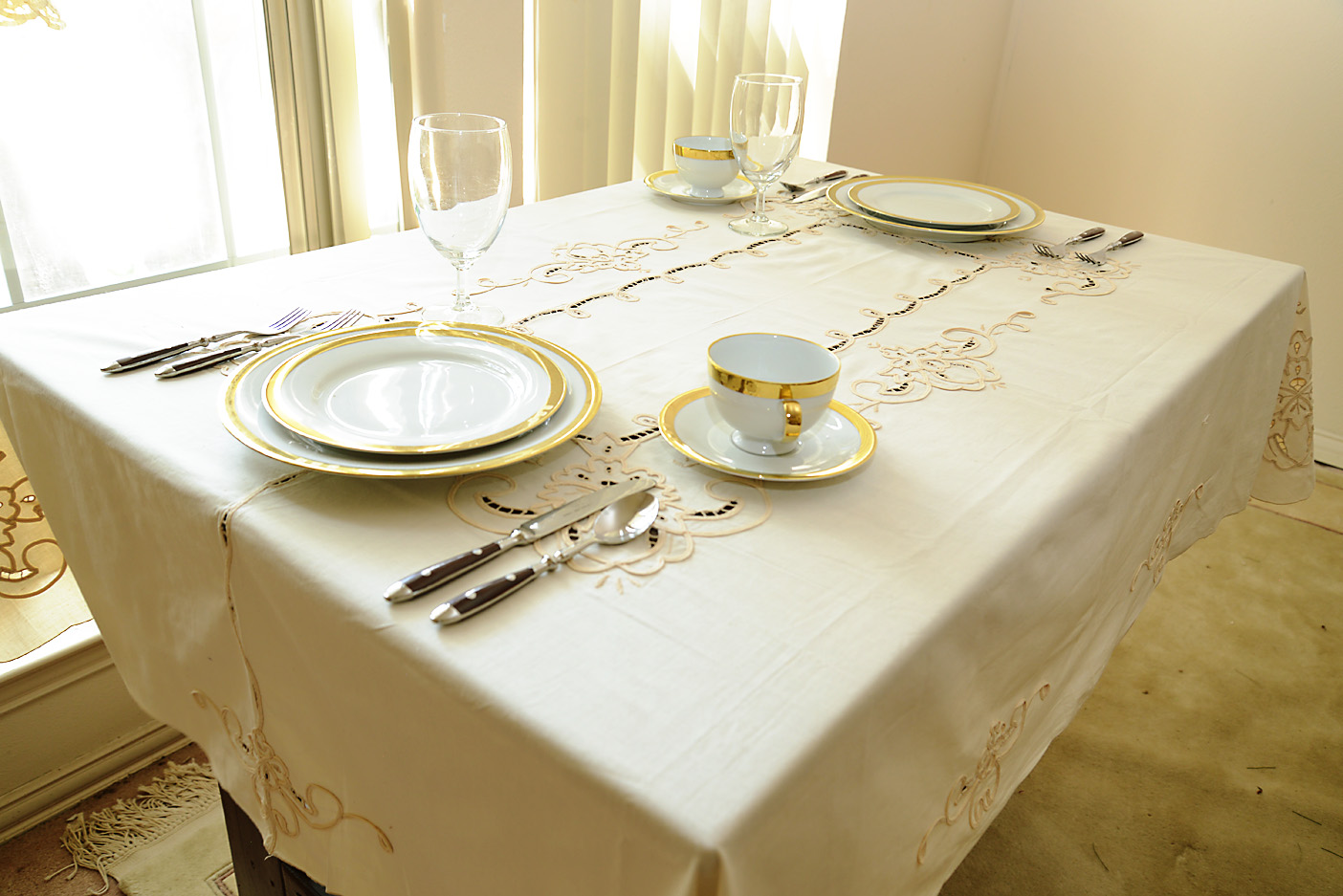 scalloped embroidered tablecloth, kitchen size tablecloth, ecru color