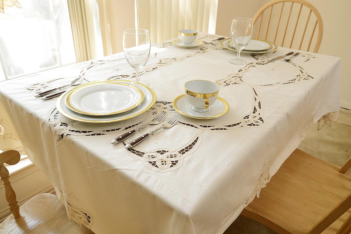 battenburg embroidered kitchen tablecloth
